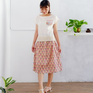 Handmade woodcut printed skirt - pink red - Indian cotton, summer breathable, cotton lining