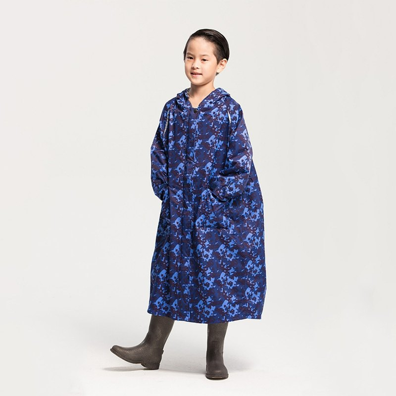 Portable Children's Raincoat - Camo Blue