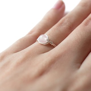 Yayoiami -6mm pink crystal 925 sterling silver wire ring