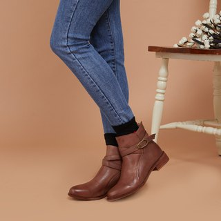 [Danish fashion] scorching benzene dyed sheepskin buckle with lace boots _ progressive brown