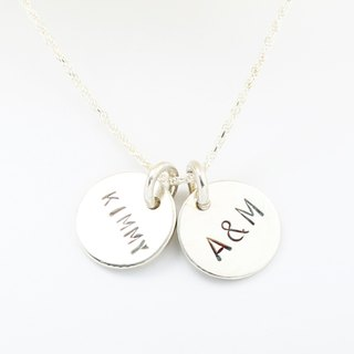 Custom round stamping letter digit s925 sterling silver necklace Valentine's day