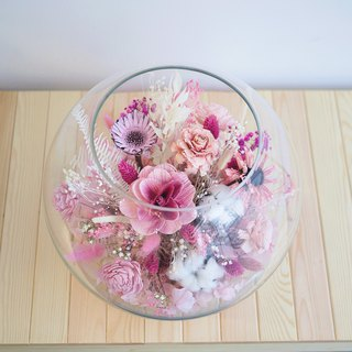 Eden Ritz-Peach Powder White Glass Ball Dry Flower Table Flower