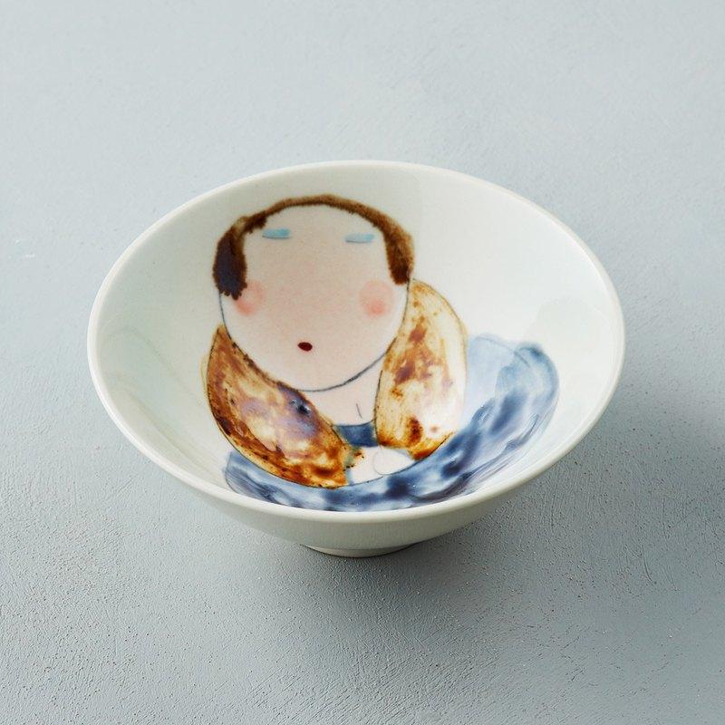 吳仲宗 - 胖太太系列 - 日本碗 - 淺水綠 (棕咖衣)