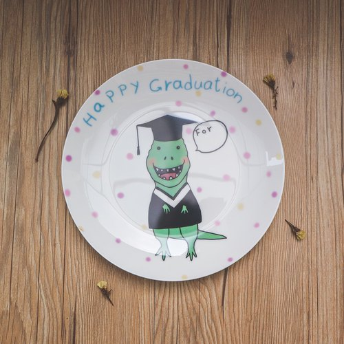 8 Skull Porcelain Plate - Playful Dinosaur Graduation Dish / Graduation Gift / Customized Product (in conversation basket) / Microwaveable / By SGS