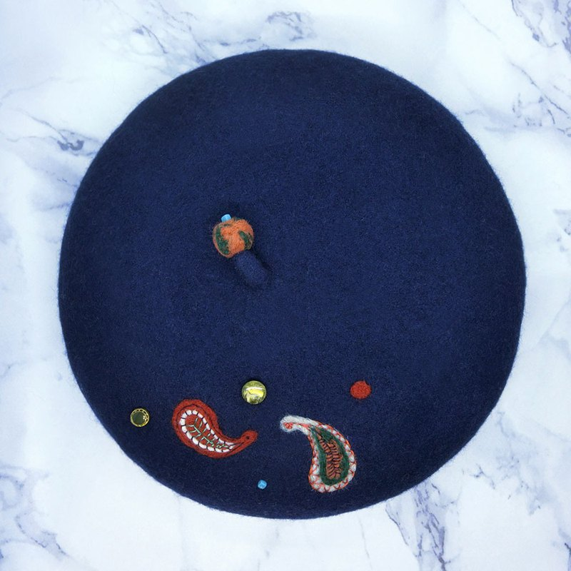 [shell art] 100% pure wool felt beret (analytic insects)