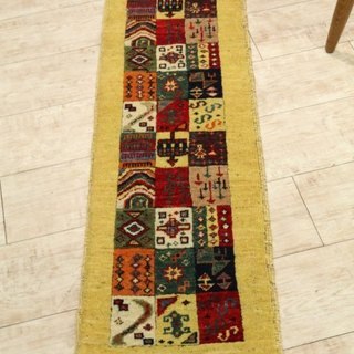 Hand-woven carpet Elongated runner type Kilim handmade rug yellow