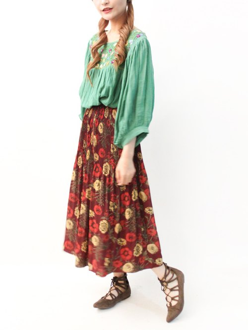 Retro Summer Japanese Country Garden Floral Breaking Wine Red Vintage Dress Vintage Skirt