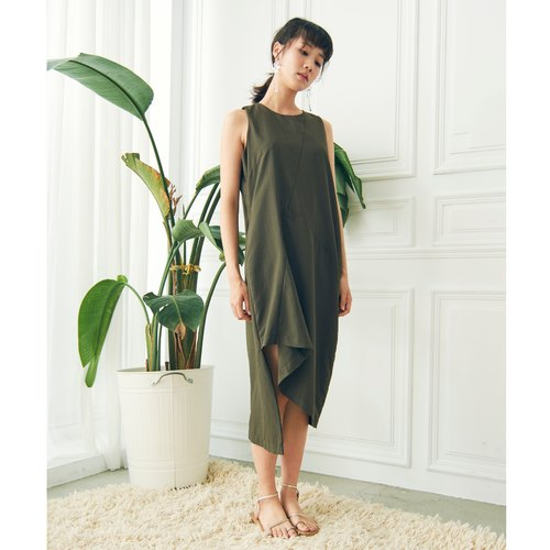 Asymmetric sleeveless dress - dark green