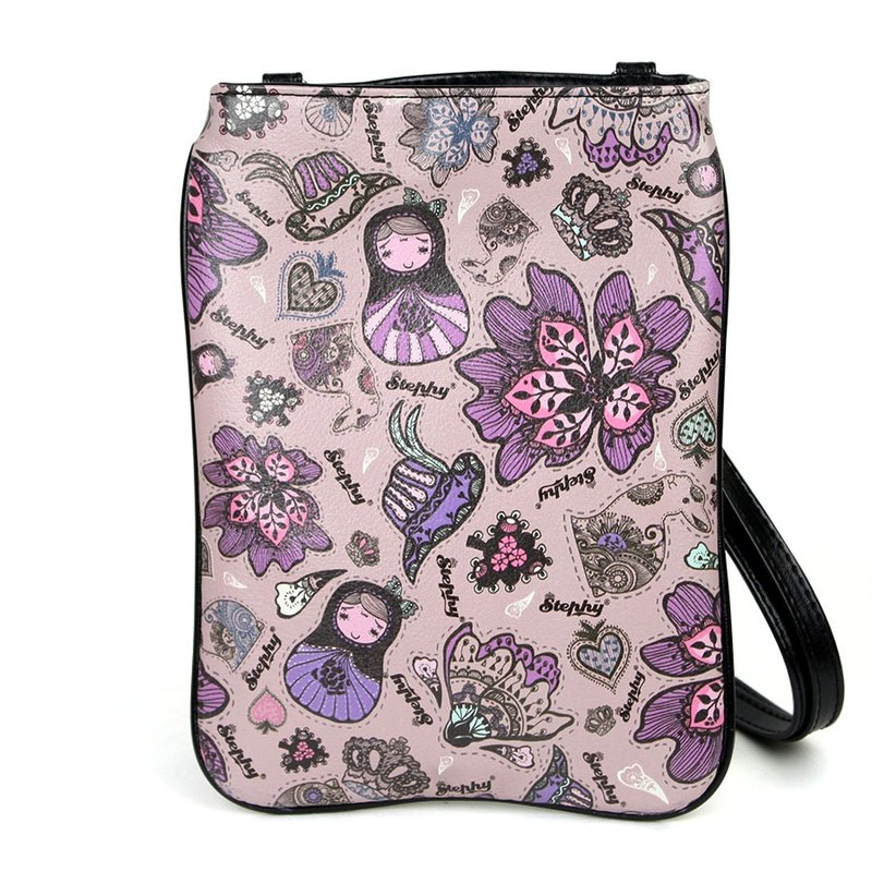 Purple Plower Floral Art Design Printed Apple Ipad Bag Case Pouch / Sling Bag /