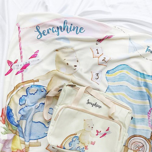 Personalized Baby Blanket and Bag Gift Set