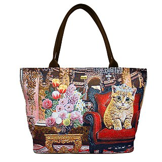 Videos jacquard woven large tote bag Princess Meow Coffee