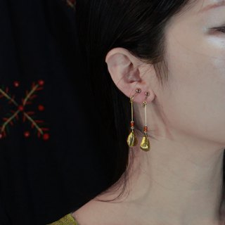 irregular. brass. Glass. earring.