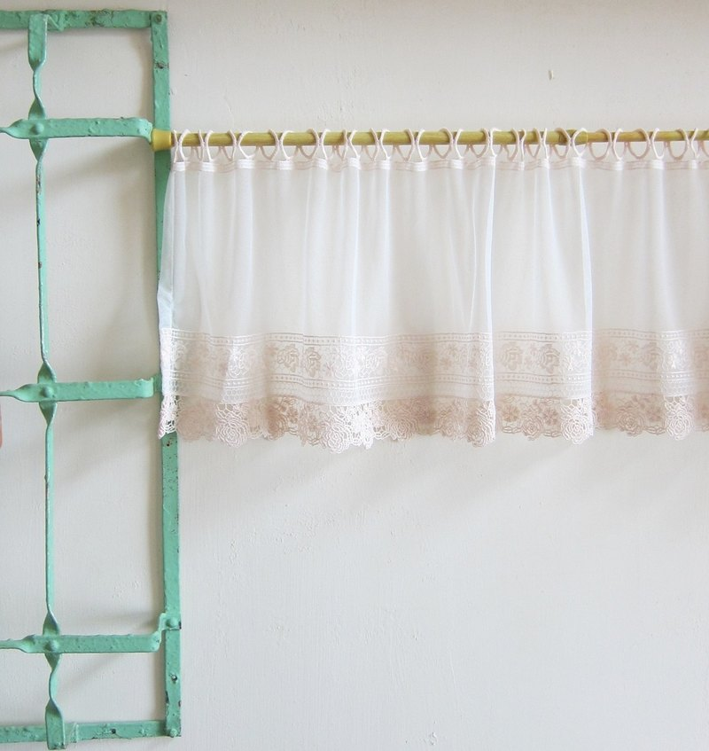 Vintage Embroidered  Rose Lace Window Valance Curtain