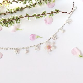 [Sakura Limited Edition] Elegant hand-painted white Cherry blossoms Flower shiny bracelet