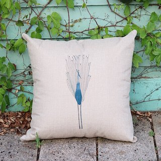 Cotton pillow │ mood blue water bird │Chien│