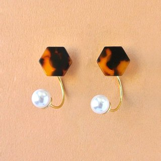 Marble Labs Impressionist Hexagon Tortoise Pearl / Mosaic Front and Rear Two Wear 2 way Earrings / Ear Clip (EP001)