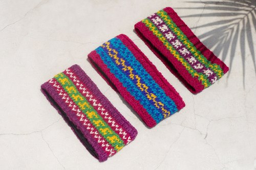 Tanabata gift limited hand / handmade wool weaving fun belt / pure wool knit hair band / boho headband / flower hook woven belt / inner brush hair band / knitted hair band - South American bright color stripes