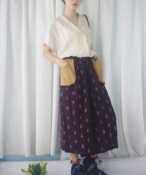 Design Handmade - Wine Red Tribal Totem Printed Outturn Pocket Wide Pants