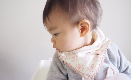 Handmade Elegant baby scarf with pink floral pattern