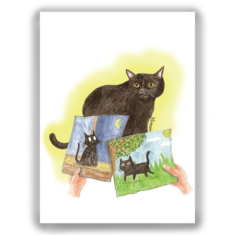 Hand-painted illustrations Multipoint cards / cards / postcards / illustrations cards - cat black cat kitten sketch watercolor picture