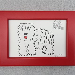 Q Family Postcard + Frame (red) Old English Sheepdog