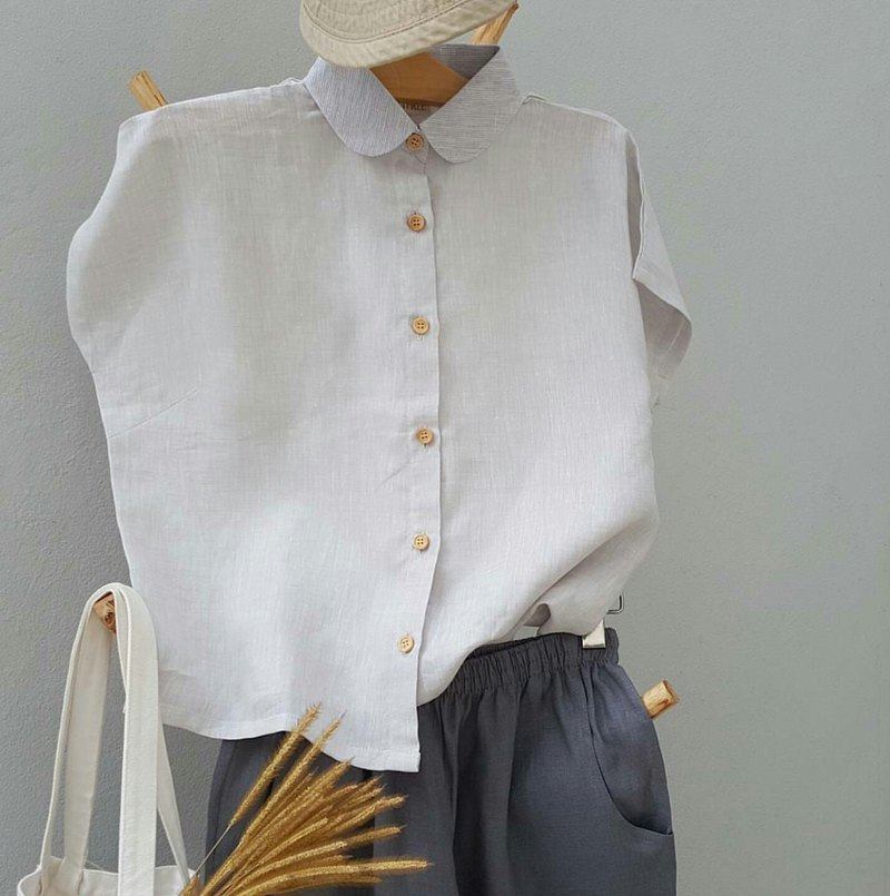 Linen Shirt with Wooden buttons (Short-sleeved)-Taro