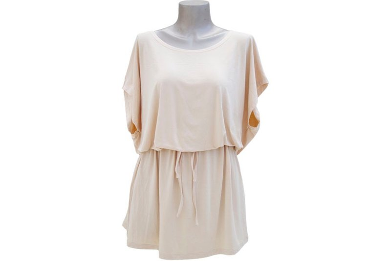 Superb comfort! Simple Dolman sleeve dress <Peach>