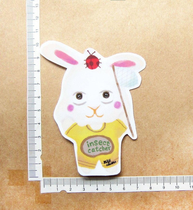 Hand-drawn illustration style totally waterproof sticker catching insect bunny