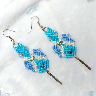 E015-Hand-knitted square heart earrings layered stacks of water blue