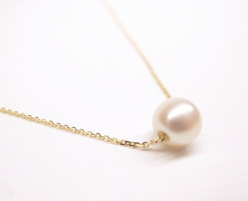 """Two silver"" [""is"" ITALY Italy 14K gold 16-inch thin chain, round pearl] (necklace)"