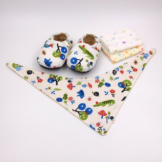Four-color forest - Miyue baby gift box (toddler shoes / baby shoes / baby shoes + 2 handkerchief + scarf)
