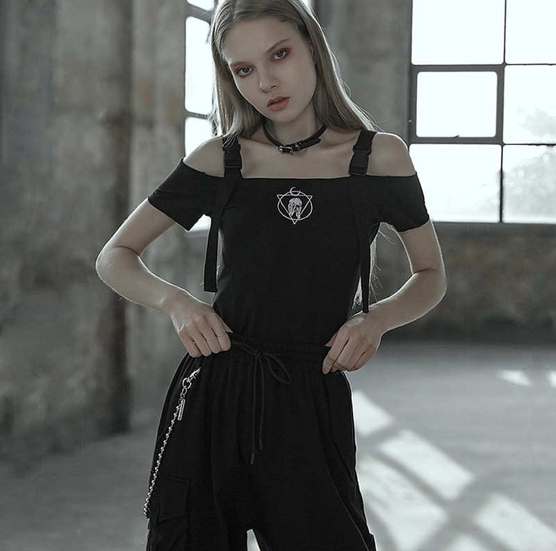 Gothic Skull Charm Off Shoulder Strap Top