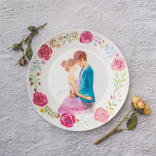 8 inch bone china plate - sweet wedding / watercolor / wedding gift / bridesmaid / wedding small things / customizable name