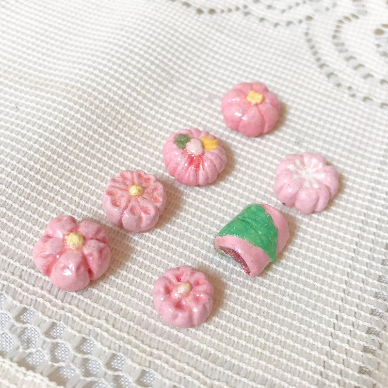 Spring and fruit earrings / ear clip / pink cherry and fruit