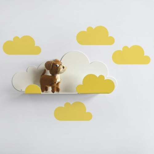 Clouds modeling shelf + wall stickers (goose yellow)