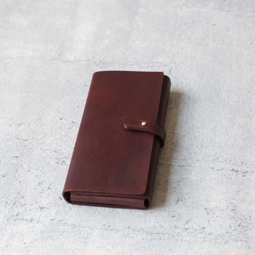 Brown vegetable-tanned cow hide leather long wallet pouch