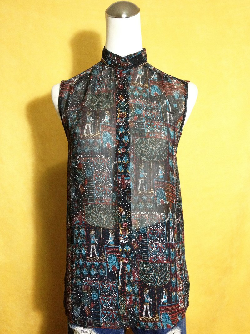 Ping pong ancient [ancient shirt / Egyptian mural chiffon sleeveless shirt] brought back abroad VINTAGE