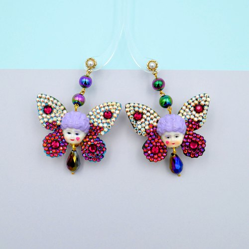 TIMBEE LO Purple Queen Mary Butterfly Earrings Artwork Embellished with Swarovski Crystal Stone