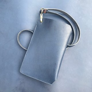 Mobile phone hanging neck bag - mobile phone holster (iphone7/7plus/8/x) / dark blue leather