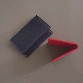 """RENÉE"" Folding Business Business Card Holder Tanning Carving Leather / Vegetable Tanning / Vegetable Leather Ocean Blue"