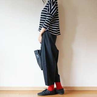 Cotton typewriter balloon pants ladies BLACK