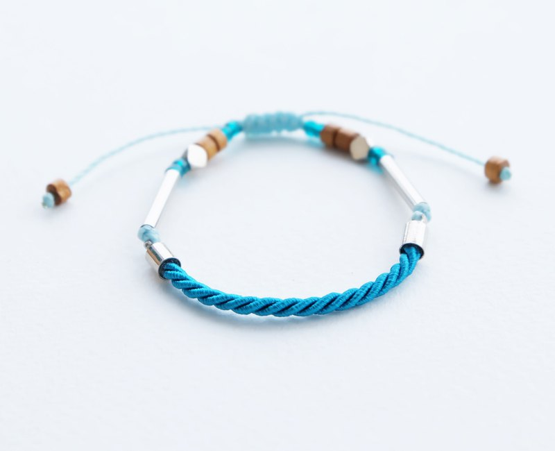 Peacock blue twisted rope adjustable bracelet unisex bracelet