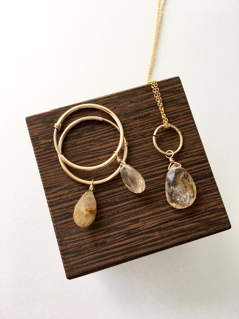 Rutile quartz hoop-earring and necklace all 14kgf
