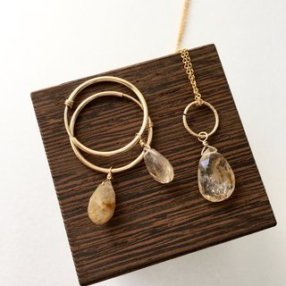 Rutile quartz hoop-earring and necklace all 14 kgf