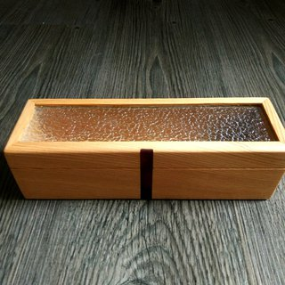 Exquisite hand made beech wood small glass box collection pen box