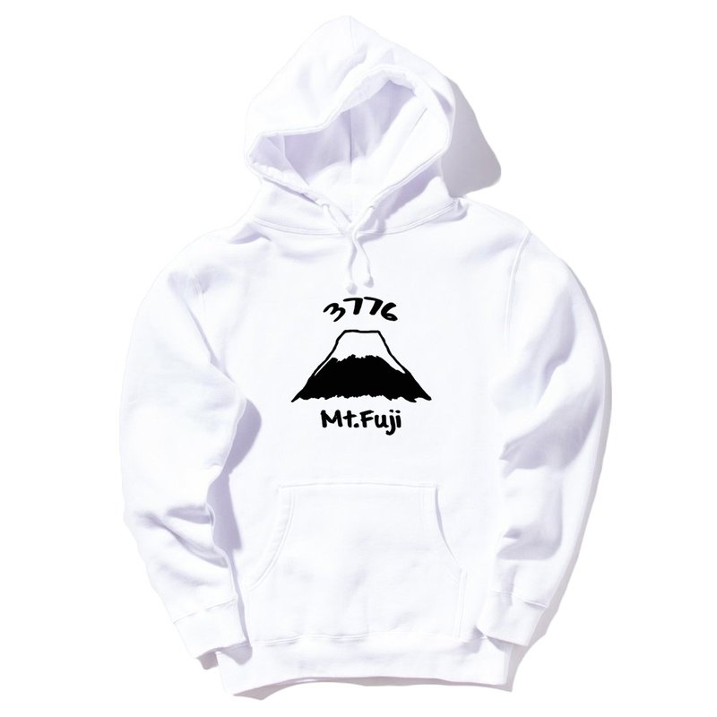 Mt Fuji 3776 front figure (spot) neutral long-sleeved bristle hooded T white Mount Fuji Japanese landscape Sakura Sun Snow own brand Wen Qing