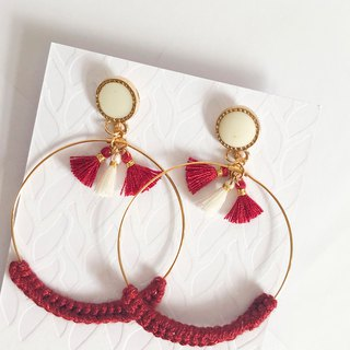 Bujielite- Crochet Gold Rounded Hoop Earring_with Red thread and mini tassel