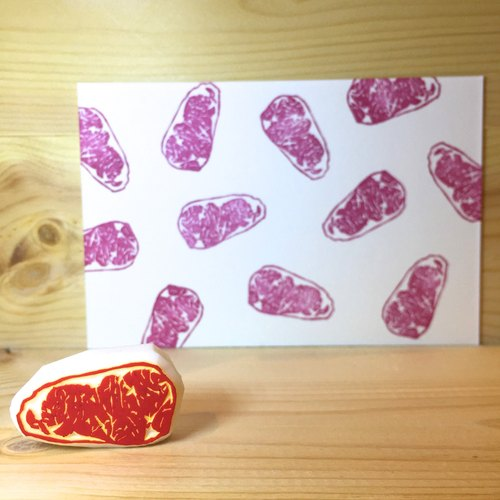 Handmade stamp with postcard(Steak)