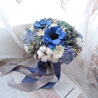 [仙杜瑞拉] Dry flower bridal bouquet / wedding bouquet / blue / customized