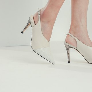 Retro minimalist leather mosaic high-heeled shoes white leather
